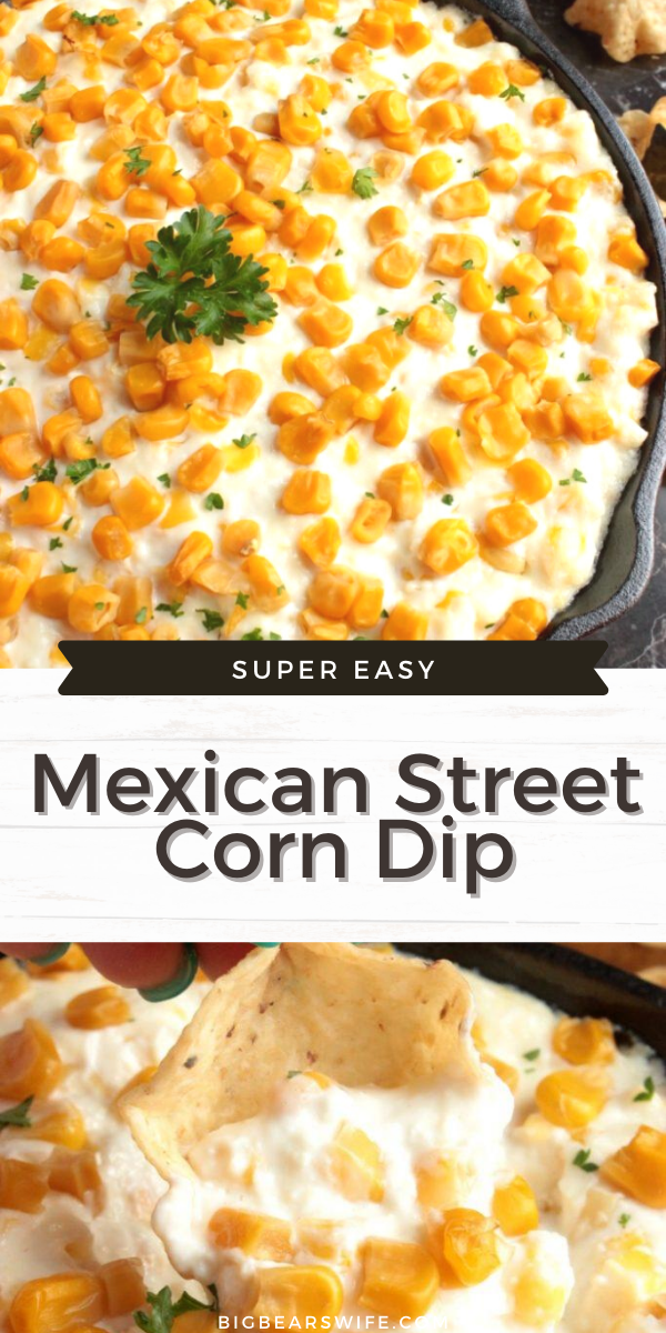 Cotija Cheese and Corn Dip is an amazing recipe for Mexican Street Corn Dip that's just like Mexican Street corn recipe on the cob but perfect for dipping with chips or just eat it straight from the spoon!