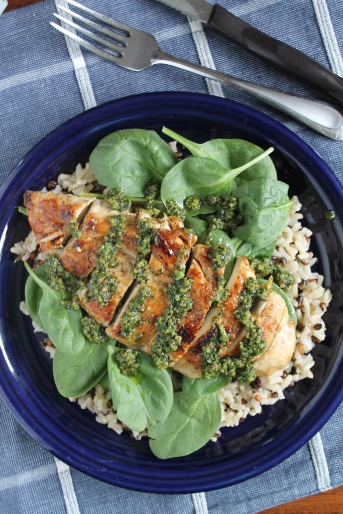 Pesto Chicken with Spinach & Wild Rice 3