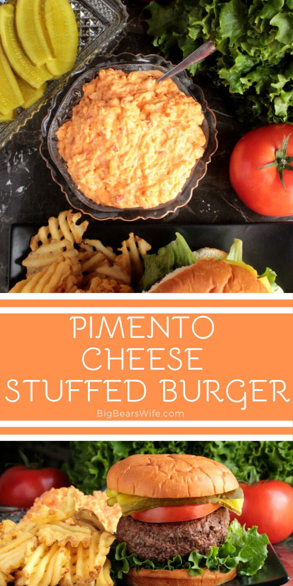 Pimento Cheese Stuffed Burger - The perfect burger stuffed with homemade pimento cheese!