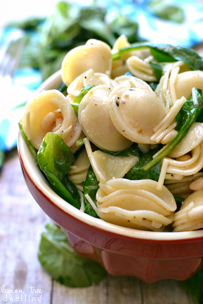 Spinach, Pine Nut & Parmesan Pasta Salad {Lemon Tree Dwelling}