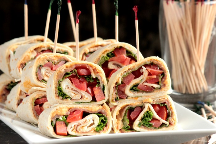 Tuscan Herb Hummus, Prosciutto and Goat Cheese Pinwheels (4)
