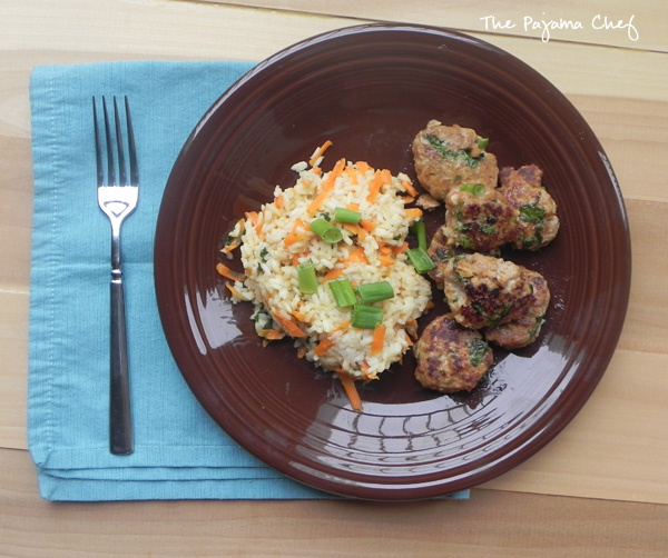 Asian Turkey Meatballs with Carrot Rice – The Pajama Chef