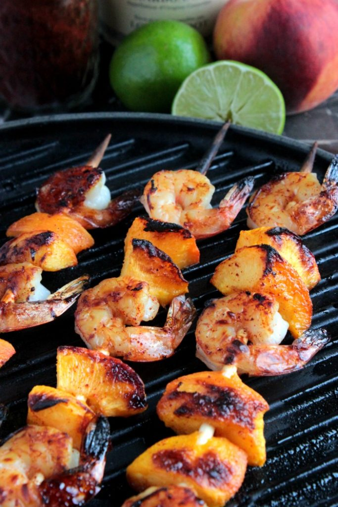 Grilled Shrimp and Peach Kabobs