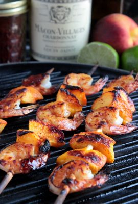 Grilled Shrimp and Peach Kabobs #LoveJadot