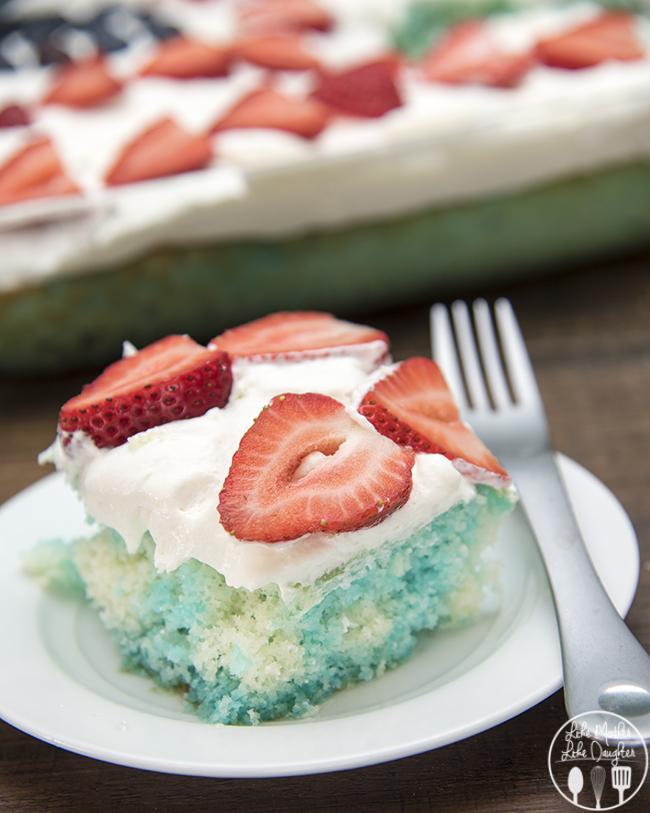 Red White and Blue Jello Poke Cake