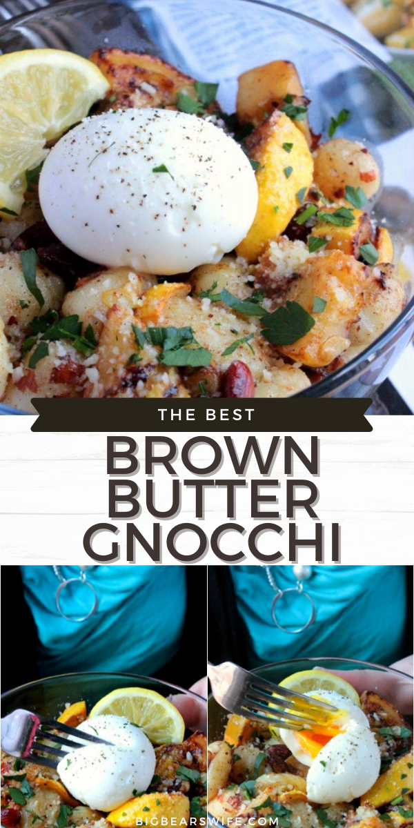 In this Brown Butter Gnocchi pasta dish gnocchi is paired with fantastic brown butter, sautéed yellow squash, soft-boiled egg and almonds for the perfect summer dinner!   via @bigbearswife