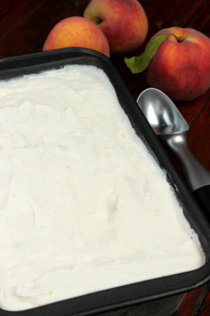 peach ice cream in loaf pan