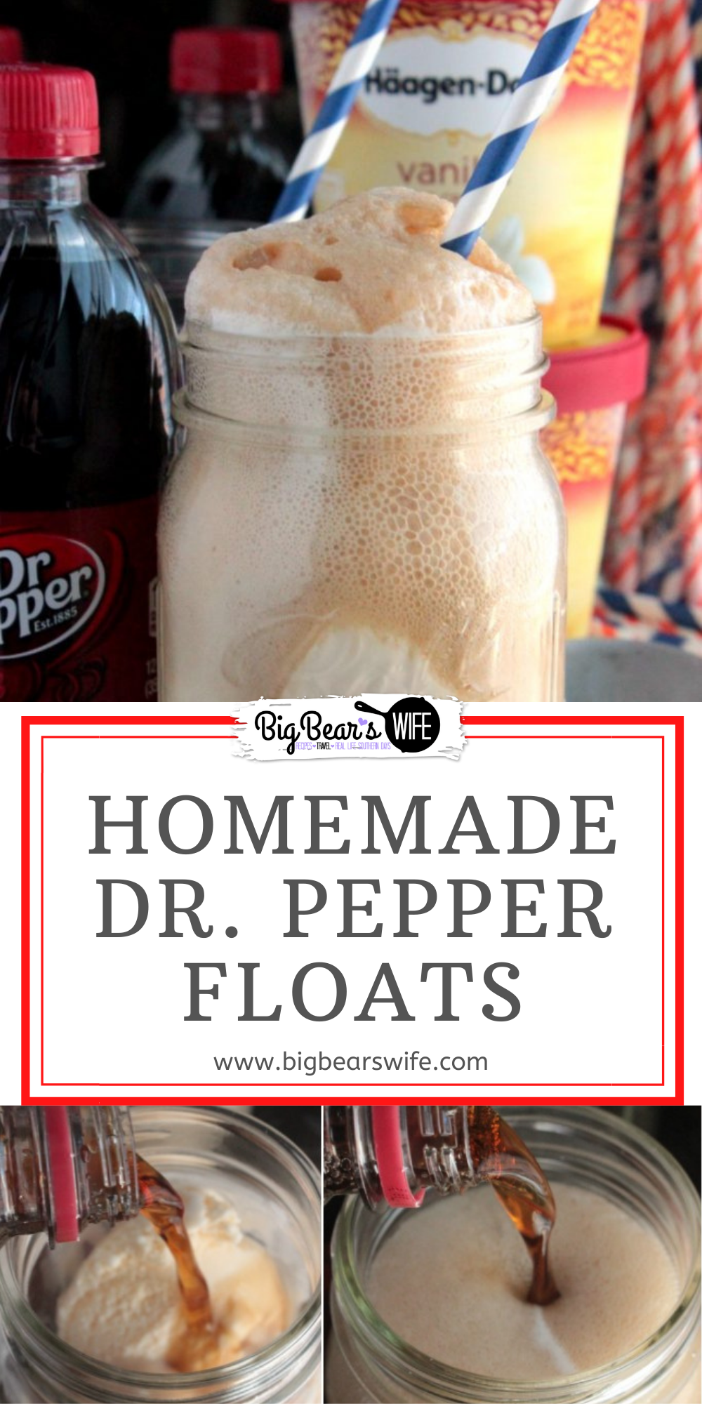 Homemade Dr. Pepper Floats are one of my mom's favorite ice cream treats! I just knew that these would be the perfect treat to make for her Birthday! This is how I make super easy Homemade Dr. Pepper Ice Cream Floats! via @bigbearswife