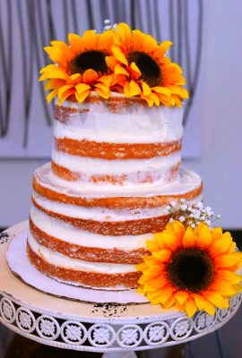 Orange Creamsicle Semi Naked Cake - Semi Naked Sunflower Cake