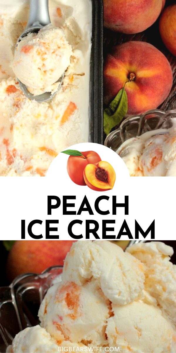 This is the perfect no churn peach ice cream recipe for those fresh peaches that you've been picking up at the farmer's market! No Eggs in this ice cream recipe