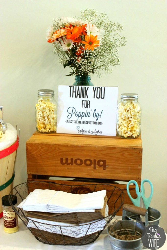 Make your own popcorn bar favor table for a bridal shower or a birthday party!