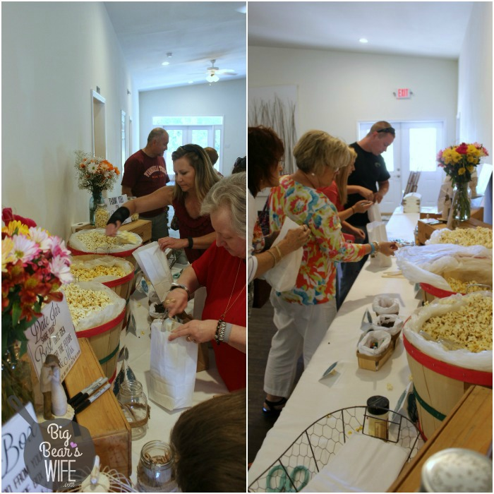 Our guest loved making their own popcorn favor bags at the wedding shower! Such an easy idea too!
