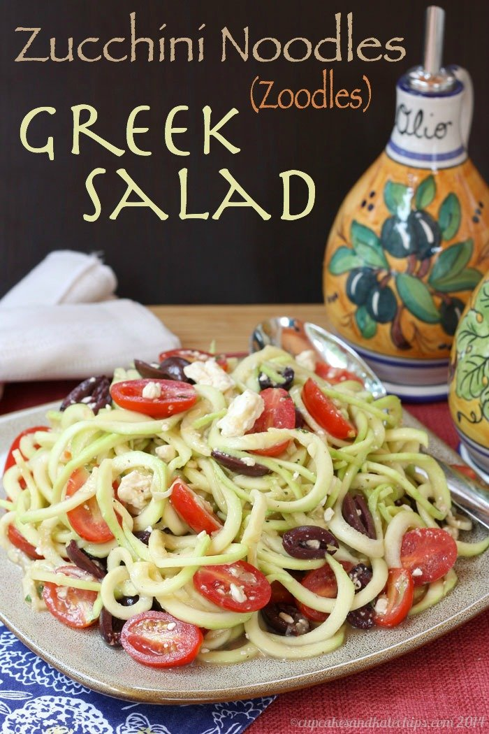 Zucchini Noodle Greek Salad {Cupcakes & Kale Chips}