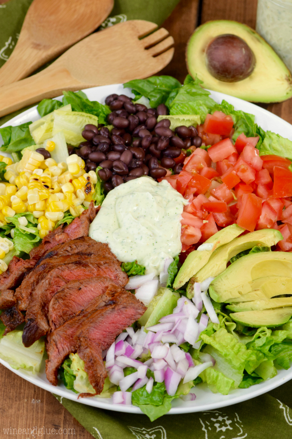 Southwestern Steak Salad with Jalapeno Ranch Dressing {Wine & Glue}
