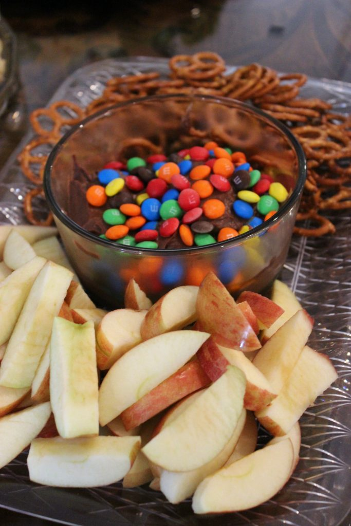 M & M Brownie Batter Dip with Apple Slices
