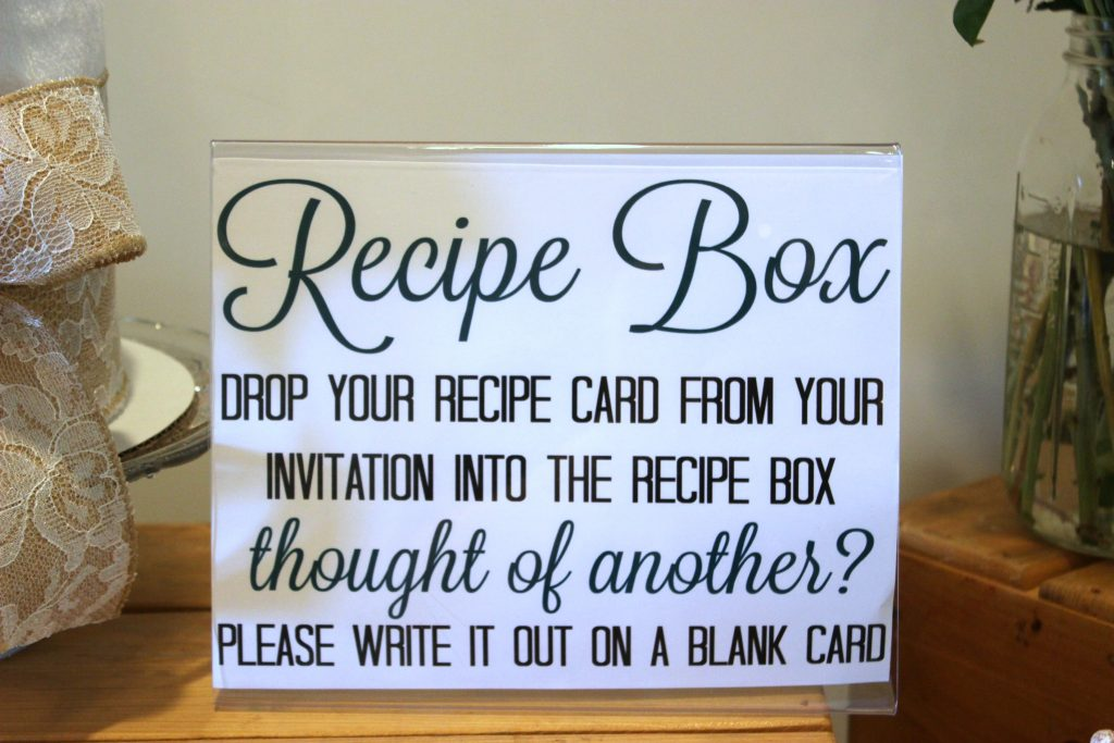 recipe box for wedding shower
