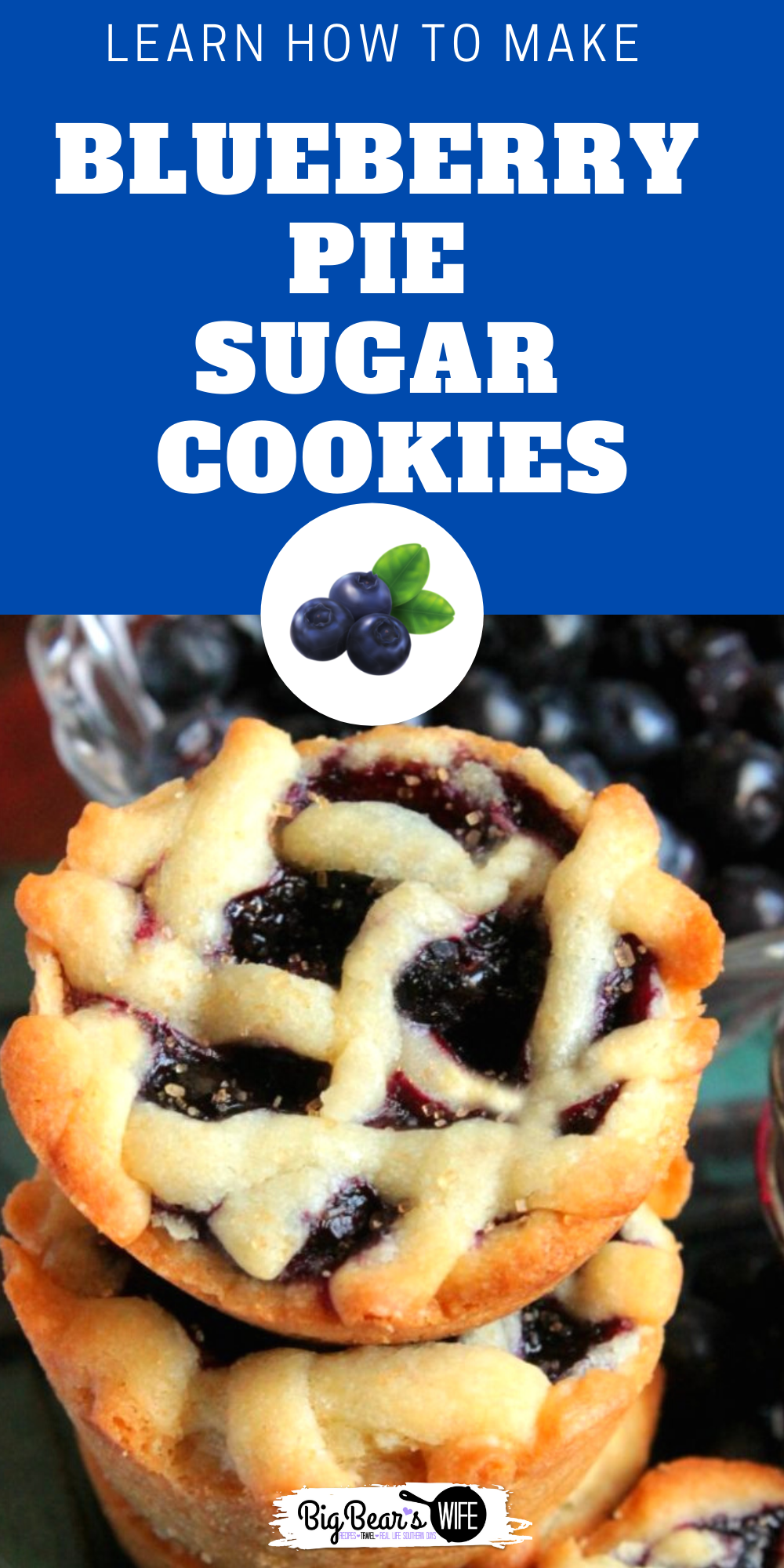 These little Blueberry Pie Sugar Cookies are filled with an amazing but easy homemade blueberry pie filling! While they look like mini pies, they're actually sugar cookies! via @bigbearswife