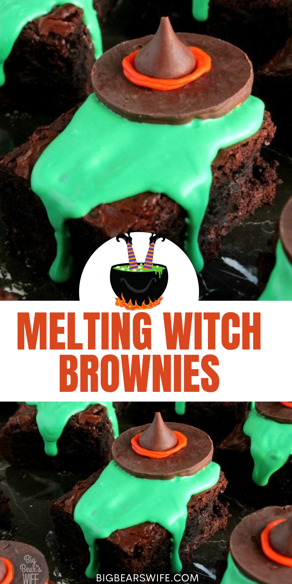These Melting Witch Brownies are giving us serious Wizard of Oz vibes by melting wicked witches over these brownies. These are fantastic for Halloween! via @bigbearswife