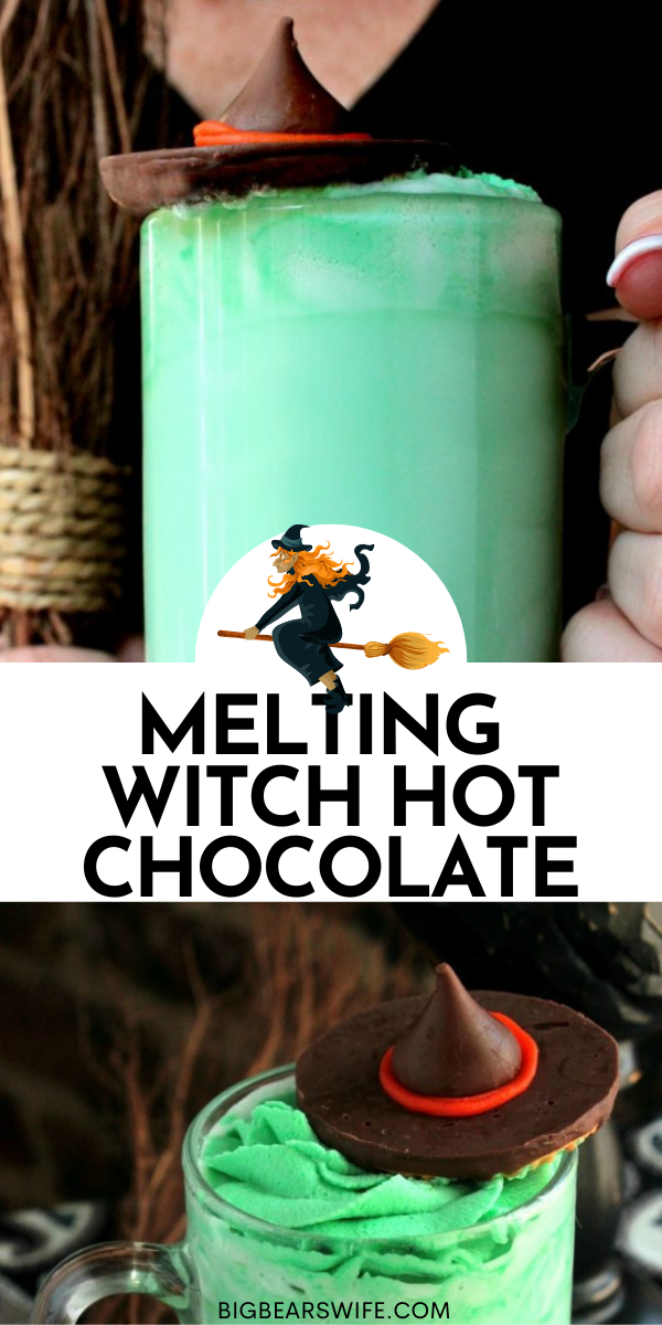 Melting Witch Hot Chocolate is exactly what you need to be sipping on while you decorate the house for Halloween! via @bigbearswife