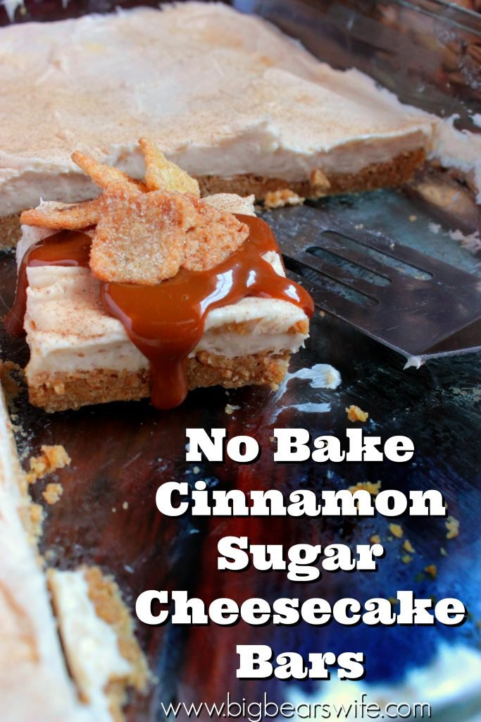 No Bake Cinnamon Sugar Cheesecake Bars