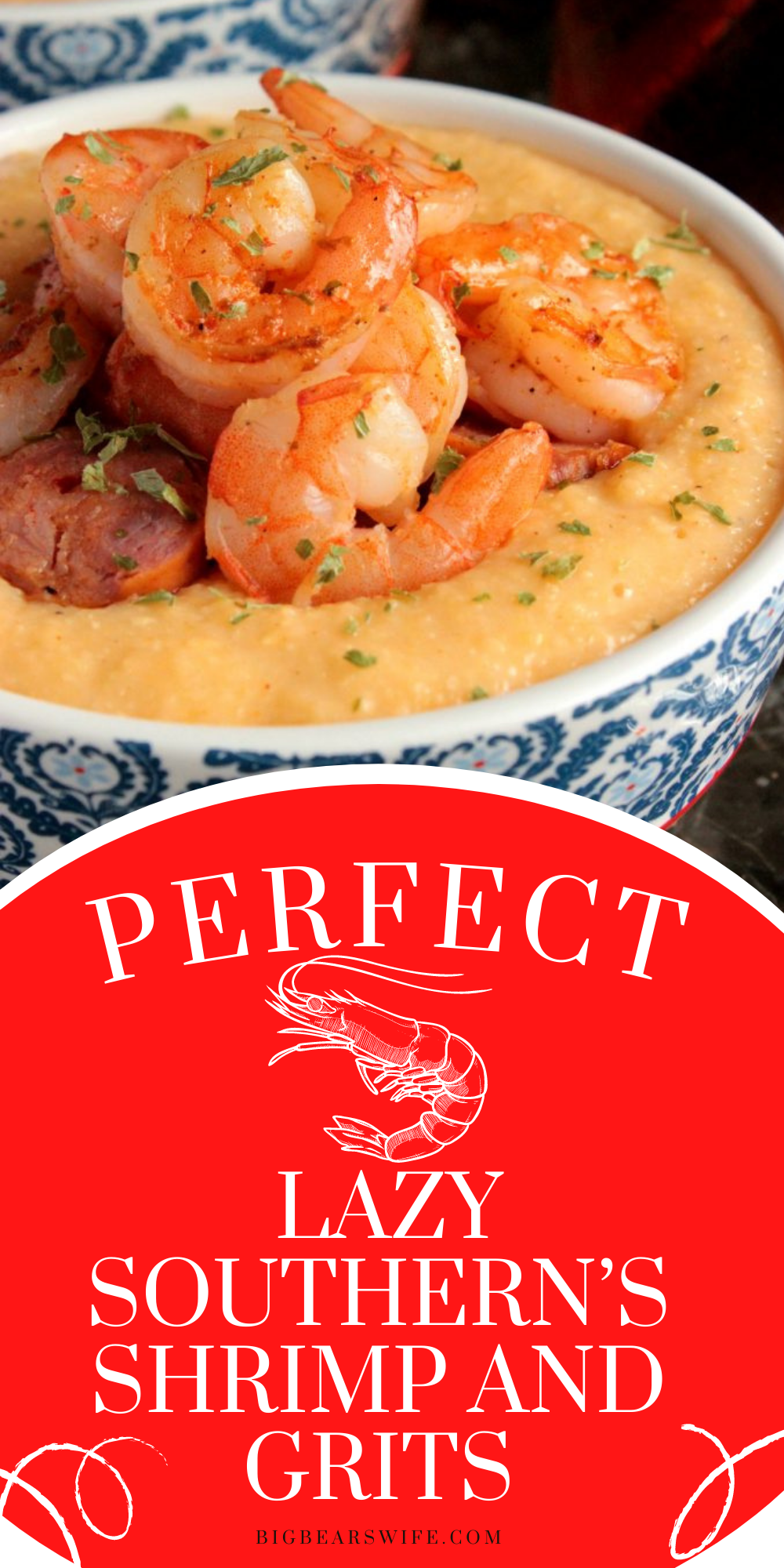 """We love shrimp and gritsbut we need quick and simple after work!This is the version that we love when we're in a hurry or when we've had a super long day at work! We call this, """"The Lazy Southern's Shrimp and Grits"""". via @bigbearswife"""