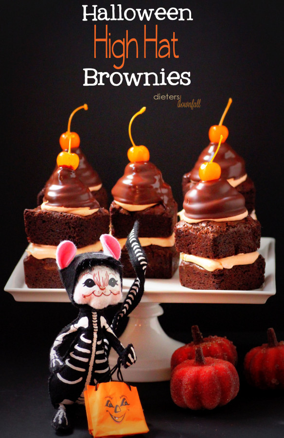 #Halloween High Hat Brownies. Topped with Marshmallow Fluff frosting and Orange Cherries! All dressed up and ready for the big night! from #dietersdownfall.com