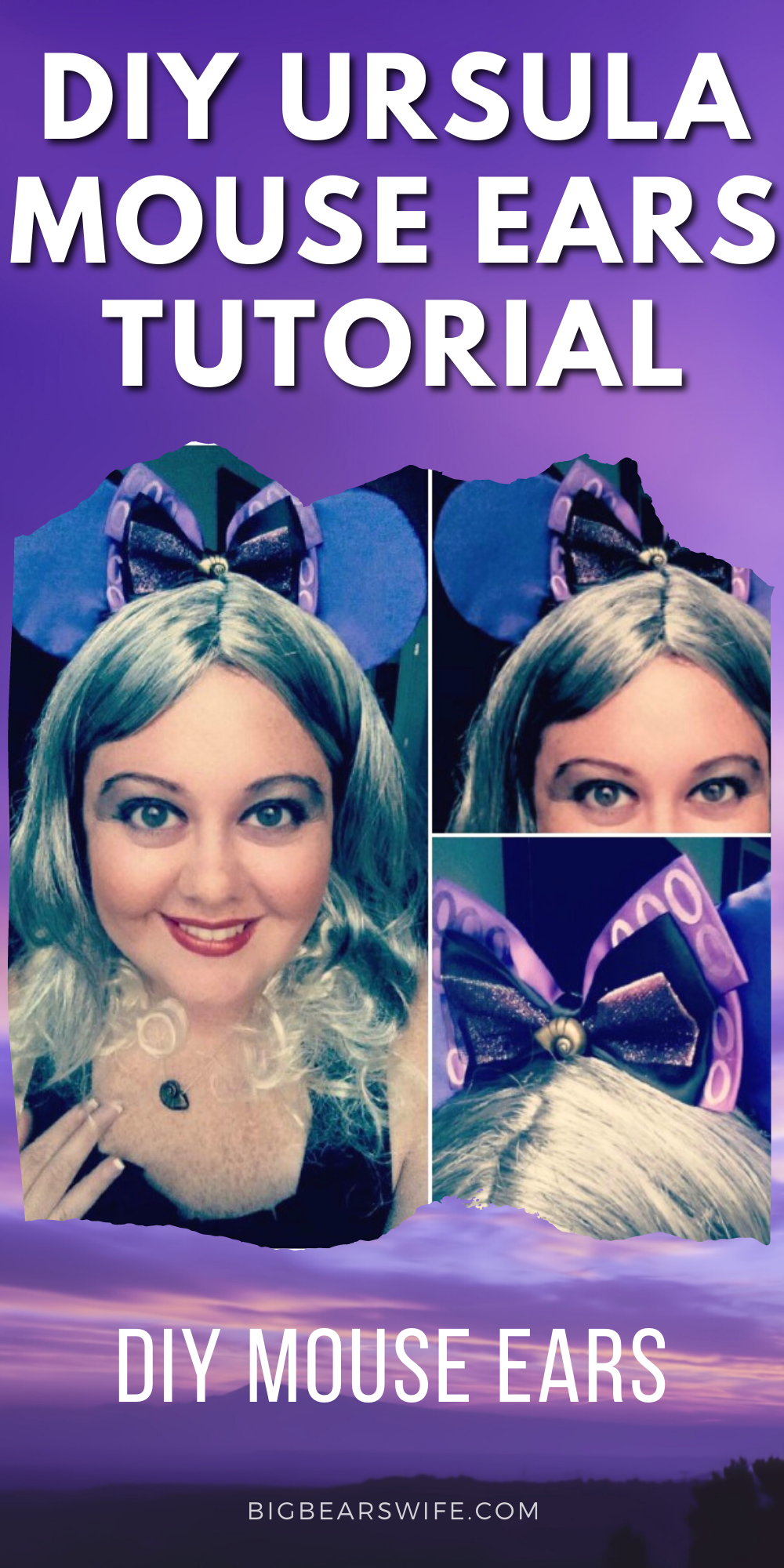 Want to make your very own Ursula Mouse Ears for your trip to Disney? I've got the step by step photo tutorial to show you how it's done! Don't want to make Ursula Mouse Ears? Just follow this tutorial and swap out the fabric and bows for any type of mouse ears! via @bigbearswife