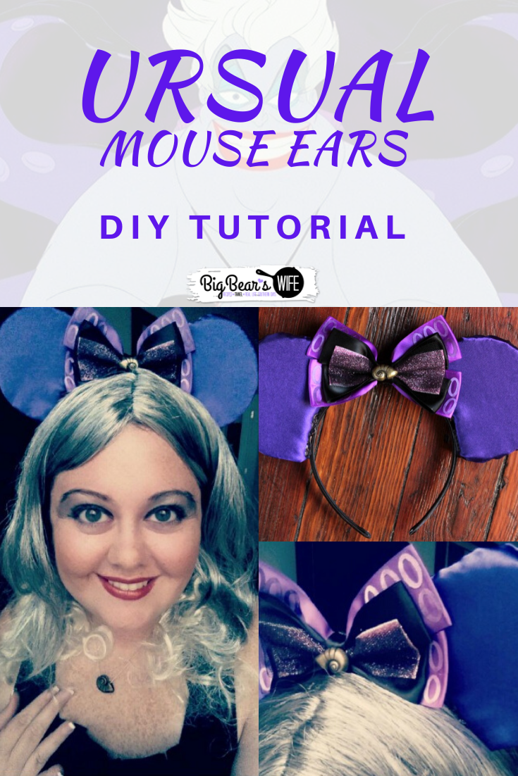 DIY Ursula Mouse Ears Tutorial -  Want to make your very own Ursula Mouse Ears for your trip to Disney? I've got the step by step photo tutorial to show you how it's done! Don't want to make Ursula Mouse Ears? Just follow this tutorial and swap out the fabric and bows for any type of mouse ears! via @bigbearswife