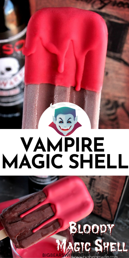 Dip homemade popsicles or store bought ones into this Vampire Magic Shell - Bloody Magic Shell for a hauntingly special treat!  Or drizzle it over scoops of ice cream for an eerie evening dessert!