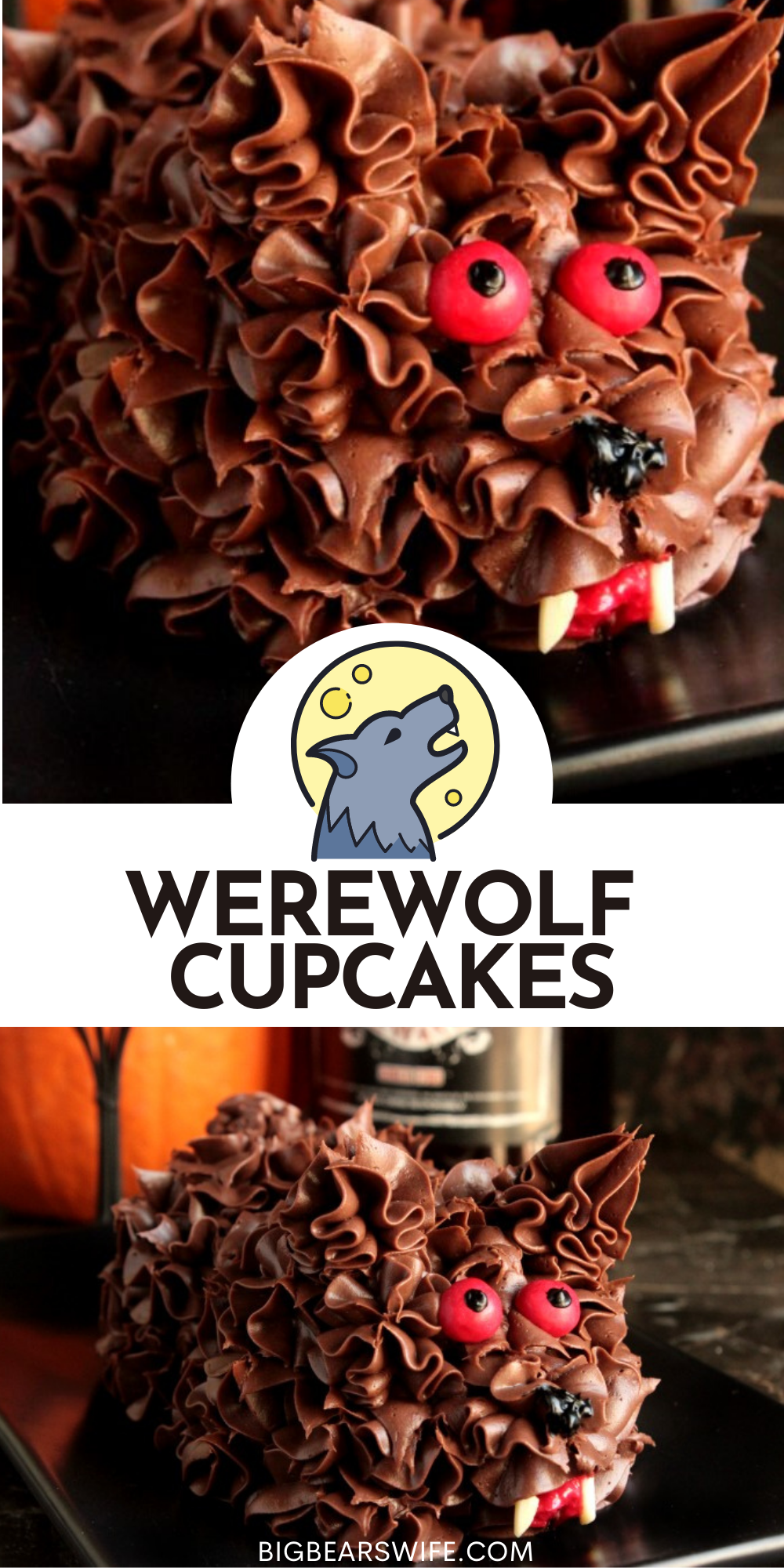 Cupcakes and Werewolf go hand and hand for Halloween! We're taking two cupcakes and turning them into this cute little Werewolf Cupcakes! via @bigbearswife