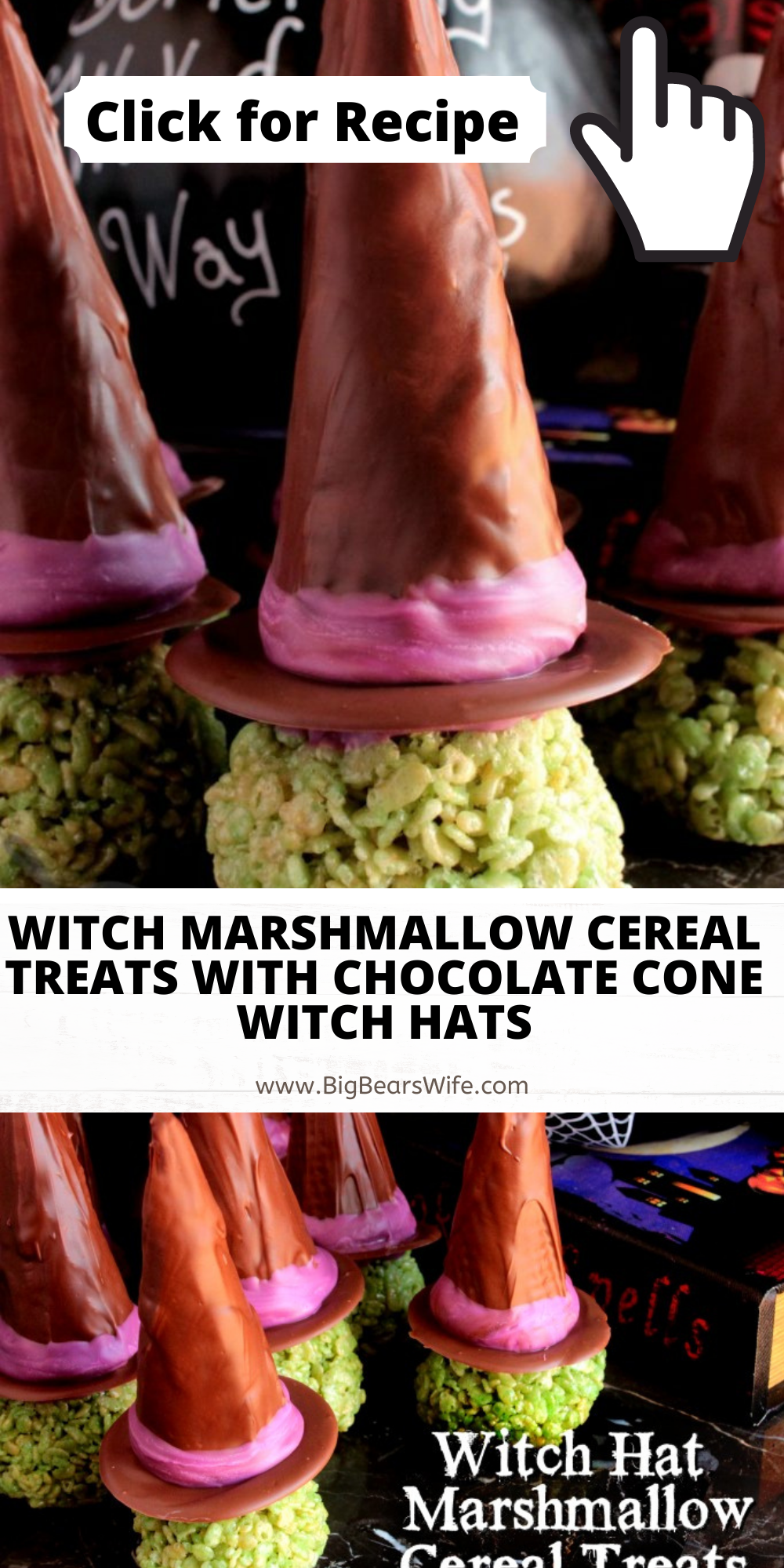 Ready for a spooky treat that's sweet to eat? These Witch Marshmallow Cereal Treats with Chocolate Cone Witch Hats have Halloween written all over them! Enjoy them at home or give them out as treats!