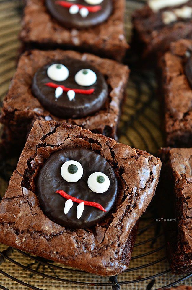 Vampire Brownies are an easy fun minty fudge brownie treat perfect for Halloween. Get the recipe at TidyMom.net