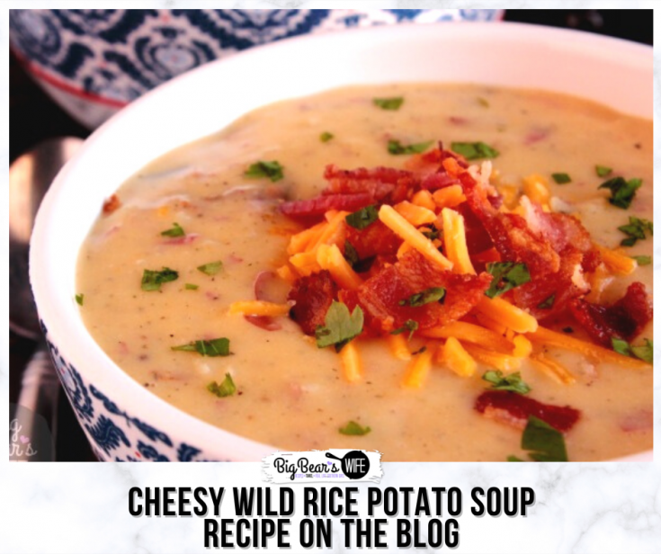 ThisCheesy Wild Rice Potato Soup is full of cheddar cheese, crispy bacon, wild rice with a homemade red skin potato soup base!