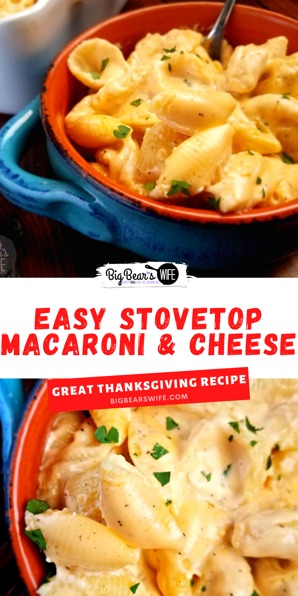 AnEasy Stovetop Macaroni and Cheese that can be whipped up in minutes; so quick to make and such a tasty side dish! via @bigbearswife