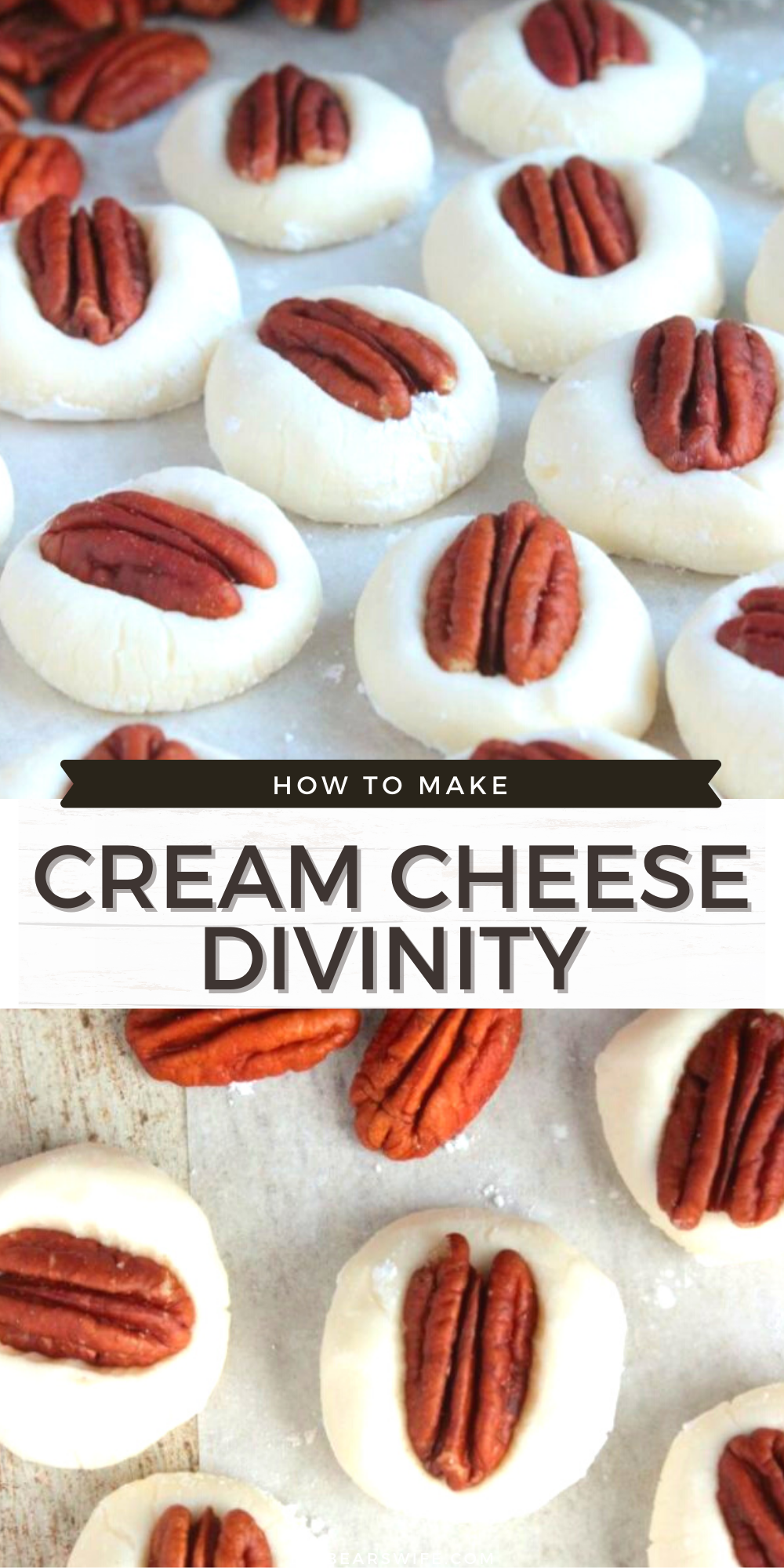 A super easy take on the Southern candy, Divinity. A no fail Cream Cheese Divinity recipe that will keep you coming back for more! It's impossible to eat just one piece! via @bigbearswife