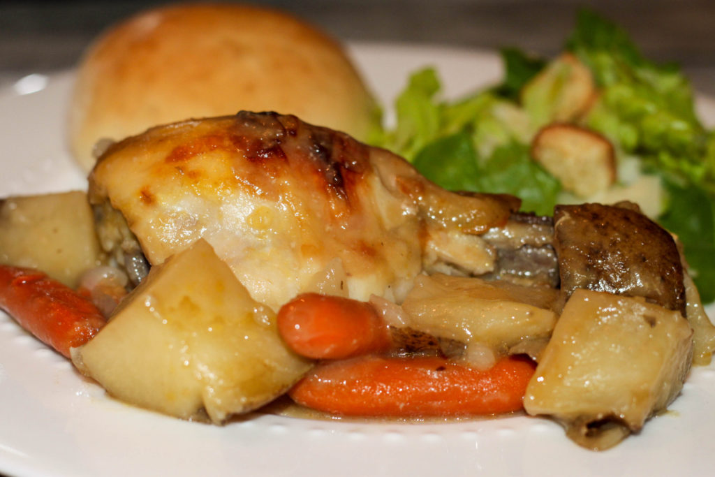 An easy crock pot chicken dinner recipe. This No Fuss Chicken Dinner is perfect for busy days and will be loved by the whole family!