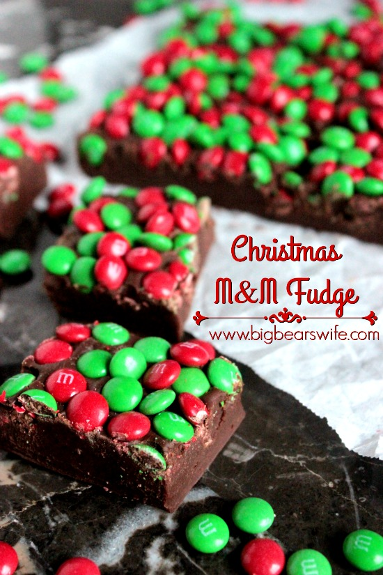 Three Ingredient Christmas M&M Fudge