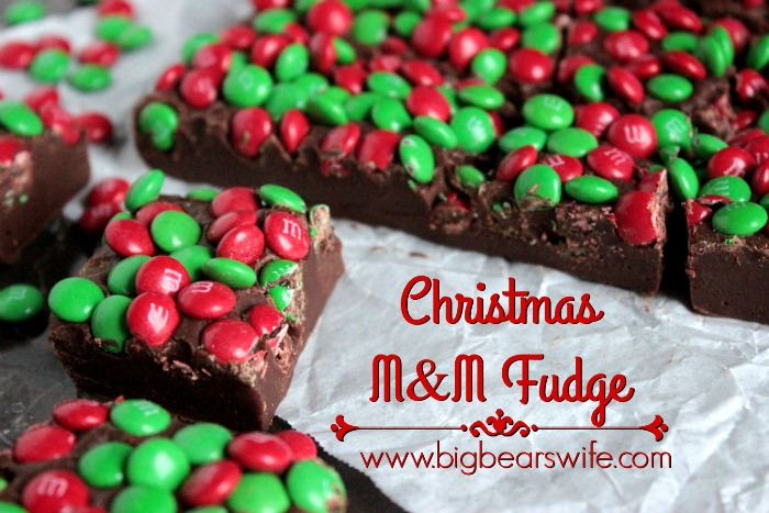 Three Ingredient Chrismas M&M Fudge