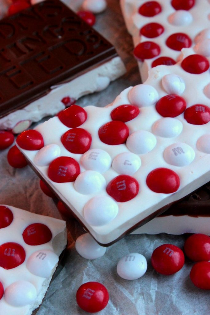 Homemade White Chocolate M&M Peppermint Candy Bars