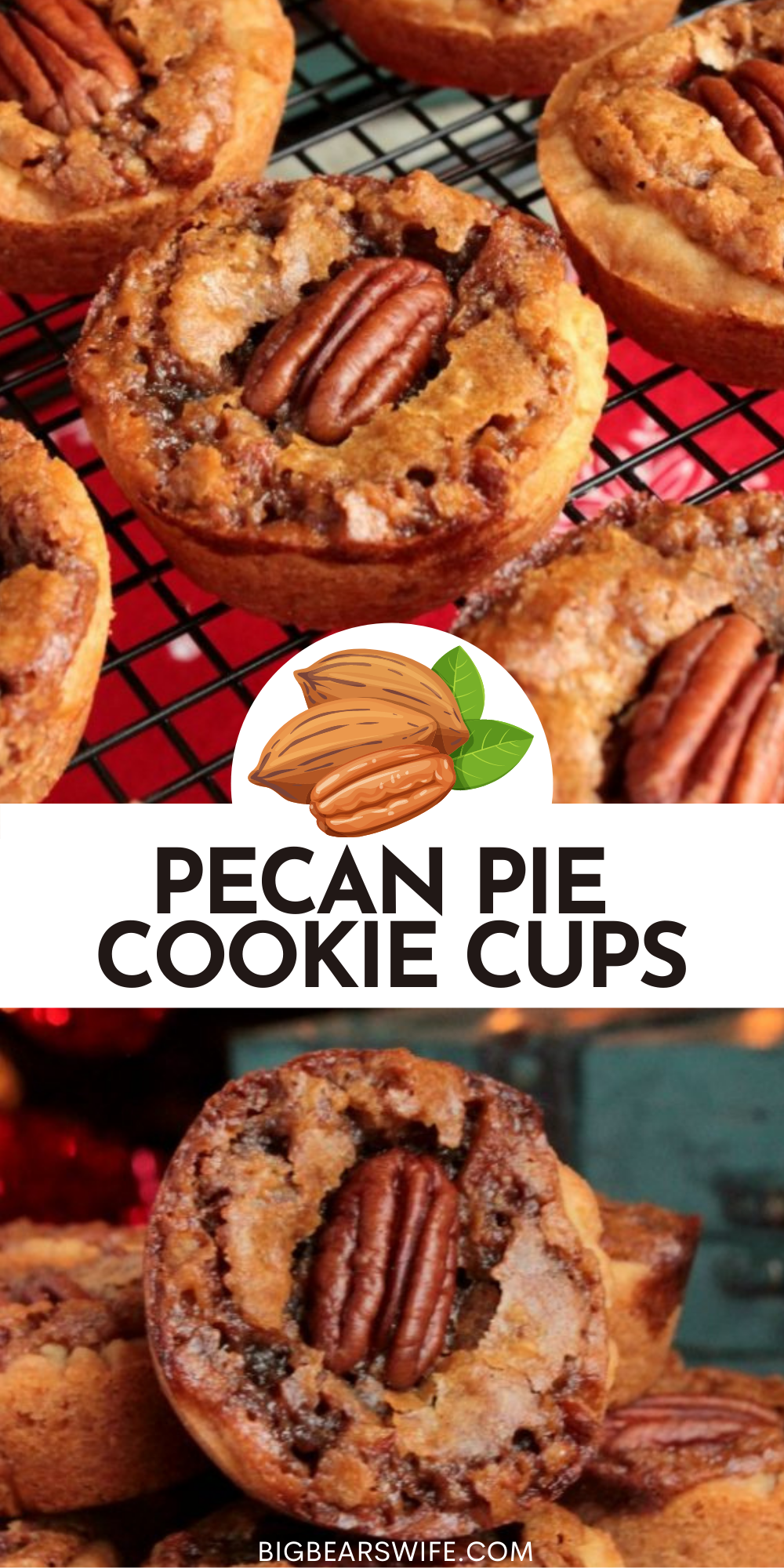 These Pecan Pie Cookie Cups have asweet pecan pie filling baked inside of a sugar cookie crust to create the perfect mini pecan pie dessert for your next holiday party! via @bigbearswife