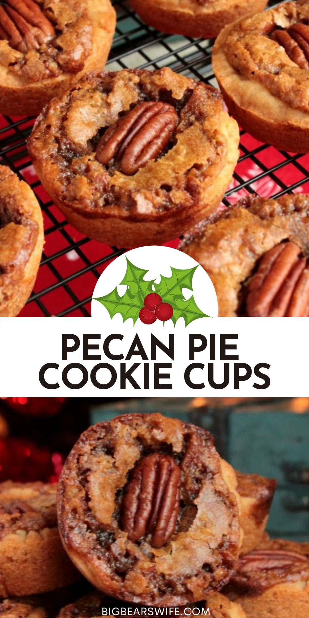 These Pecan Pie Cookie Cups have a sweet pecan pie filling baked inside of a sugar cookie crust to create the perfect mini pecan pie dessert for your next holiday party! via @bigbearswife