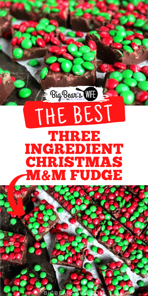 Pack up a few trays of this Three Ingredient Christmas M&M Fudge into cute little Christmas tins and hand them out to friends and family this holiday season! This fudge is so simple to make that you'll want to make it for every holiday!
