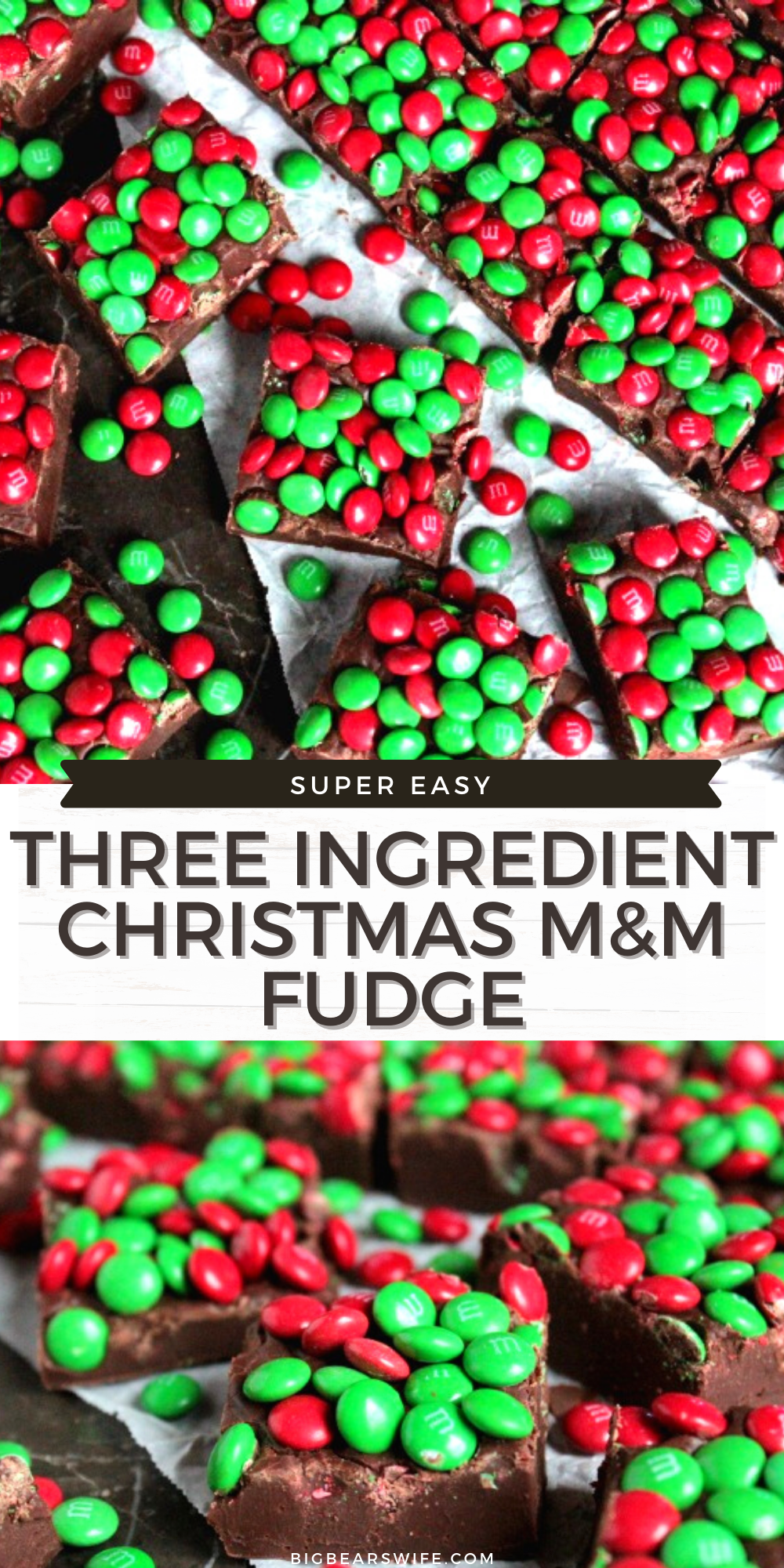 Pack up a few trays of this Three Ingredient Christmas M&M Fudge into cute little Christmas tins and hand them out to friends and family this holiday season! This fudge is so simple to make that you'll want to make it for every holiday! via @bigbearswife