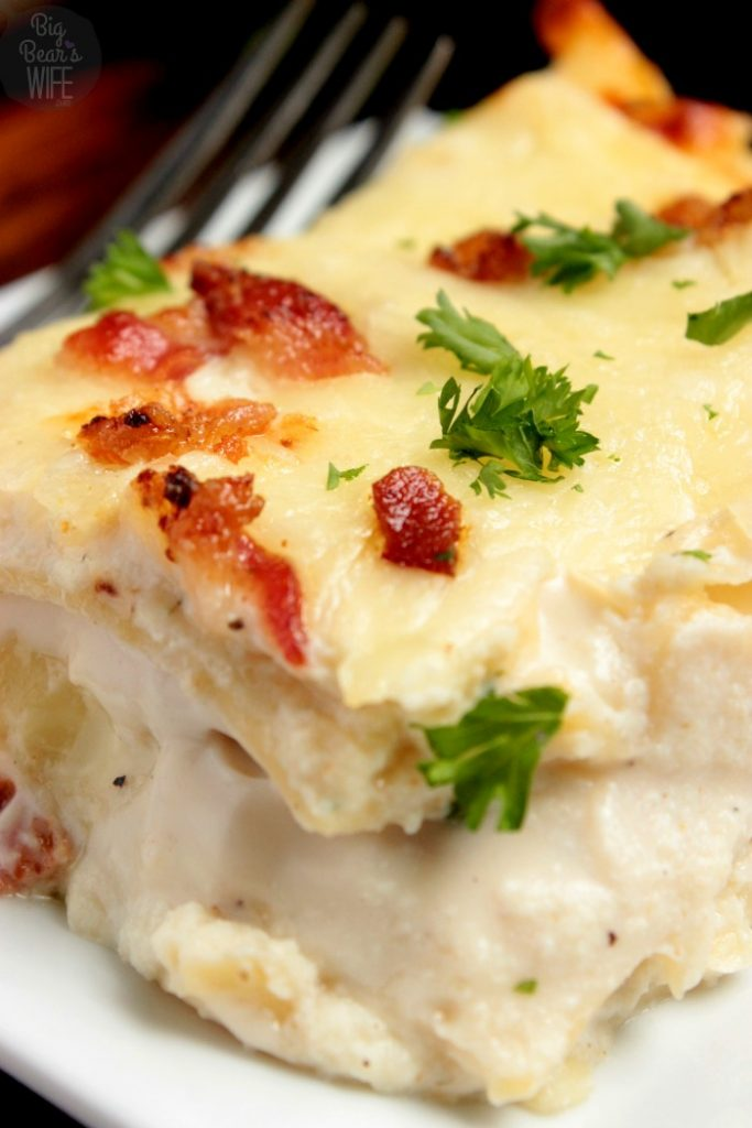 Slice of Chicken Bacon Alfredo Lasagna close up