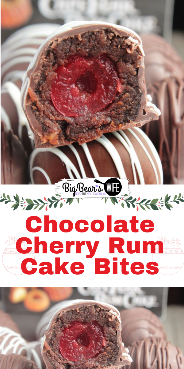 Chocolate Cherry Rum Cake Bites - Perfect little Chocolate Cherry Rum Cake Bites are sweet chocolate cherry bites made with Cape Fear Rum Cake Cherry Chocolate Rum Cake, stuffed with a cherry and dipped in melted chocolate!