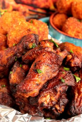 Cooked Perfect Premium Fire Grilled Chicken Zesty Herb and Spices Wings with Pimento Cheese Stuffed Fried Mashed Potato Bites