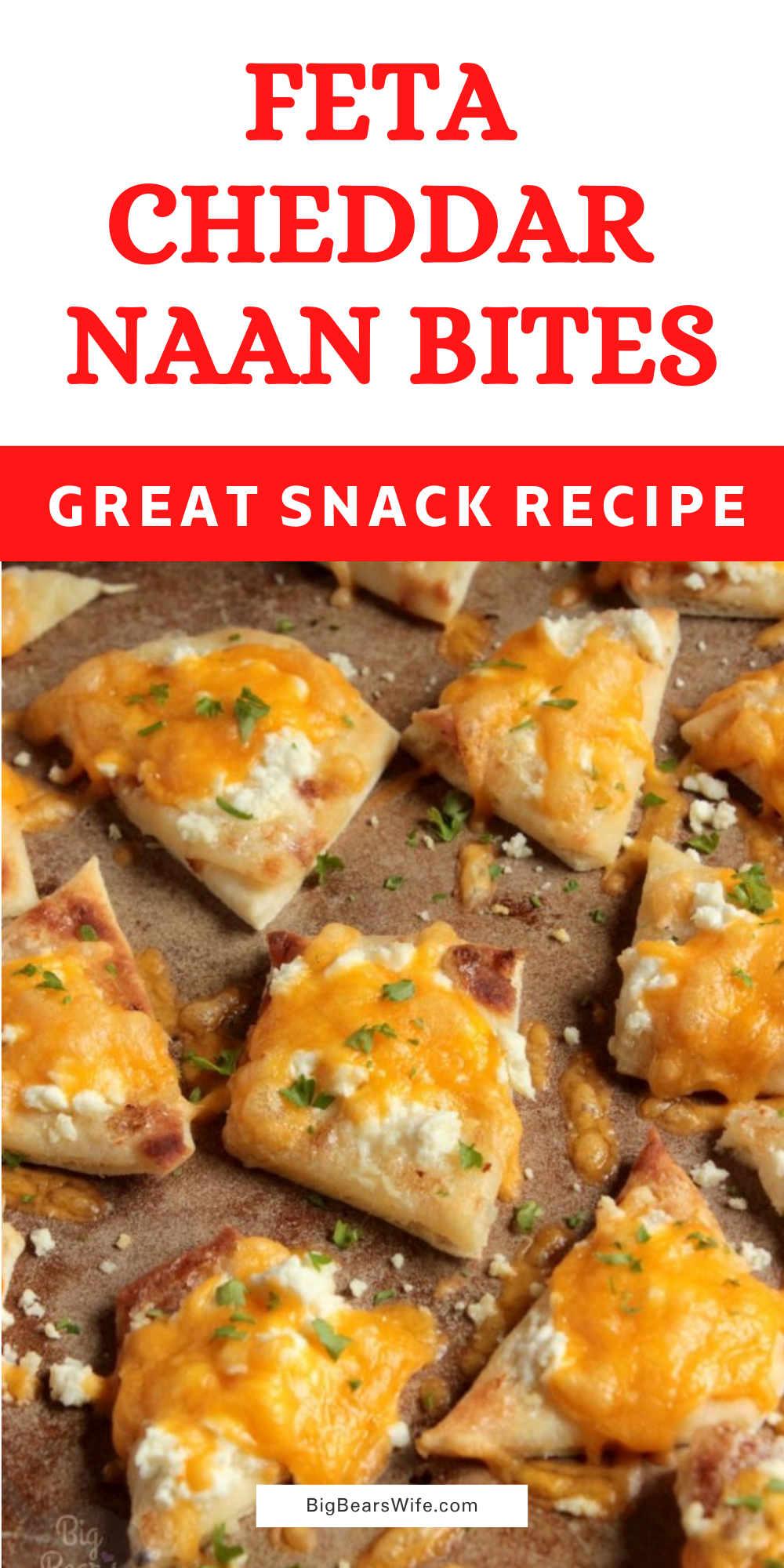 These Feta Cheddar Naan Bites were inspired by favorite sandwich at the coffee shop below our apartment! It's a warm piece of naan topped with a garlic mayo and melted feta and cheddar cheese! via @bigbearswife