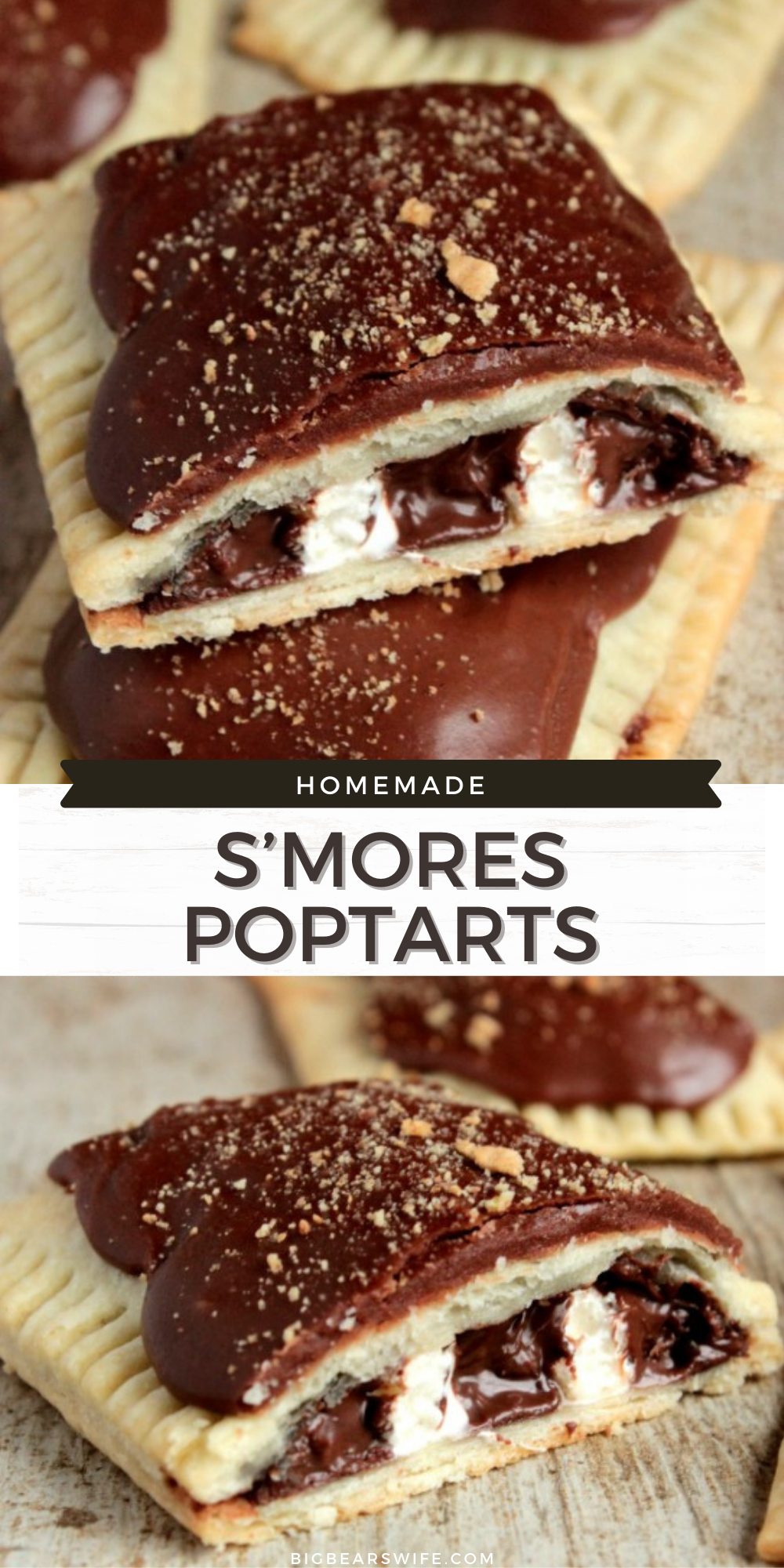 Love the S'more Poptarts that you buy at the store? If you love those, you're going to fall head over heels for these Homemade S'mores Poptarts! Plus they have so much more filling than the store bought ones! via @bigbearswife