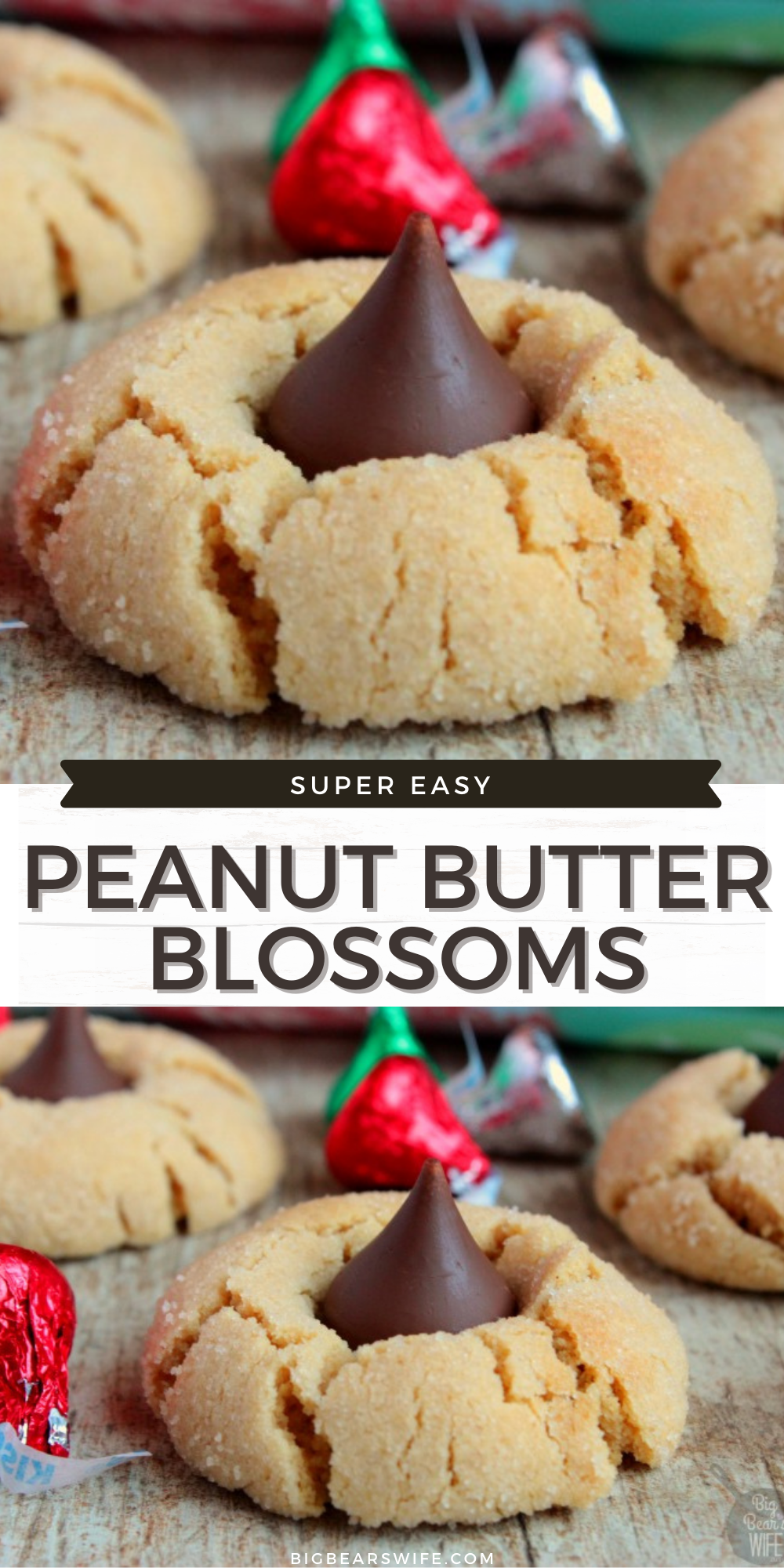Peanut Butter Blossoms - Chocolate Kiss Peanut Butter Cookies- Sweet Peanut Butter cookies rolled in sugar and then baked to perfection! As soon as they come out of the oven, press a chocolate kiss down into the center to make the best Peanut Butter Blossoms! via @bigbearswife