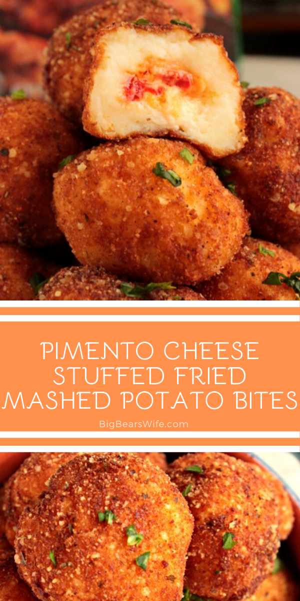 Pimento Cheese Stuffed Fried Mashed Potato Bites - A super tasty appetizer of mashed potatoes stuffed with homemade pimento cheese and then fried to a golden perfection!  via @bigbearswife